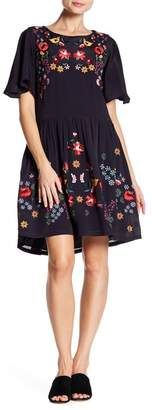 French Connection Alice Floral Embroidered Flutter Sleeve Dress