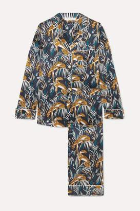 Olivia von Halle Lila Printed Silk-satin Pajama Set - Navy