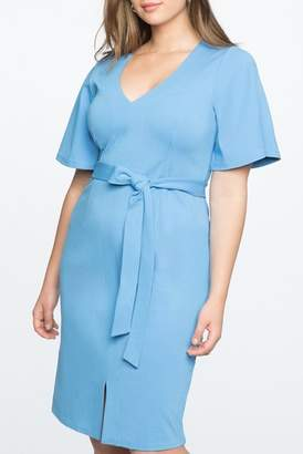 ELOQUII Flare Sleeve Tie Waist Dress (Plus Size)