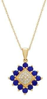 Lord & Taylor 14K Yellow Gold, Blue Sapphire & Diamond Pendant Necklace