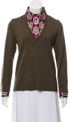 Tory Burch Wool Knit Long Sleeve Sweater