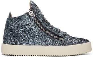 Giuseppe Zanotti Blue Glitter London High-Top Sneakers