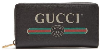 Gucci Logo Print Leather Wallet - Mens - Black