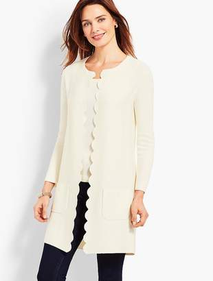 Talbots Scallop-Edge Open Front Cardigan