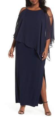 Xscape Evenings Chiffon Overlay Split Sleeve Gown
