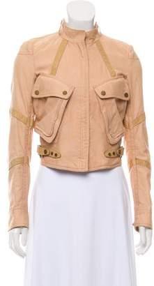 Belstaff Leather-Accented Zip-Up Jacket