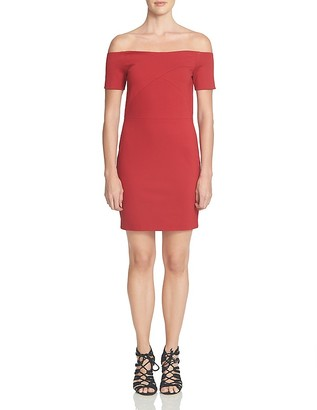 1.STATE Off-The-Shoulder Sheath Dress $109 thestylecure.com