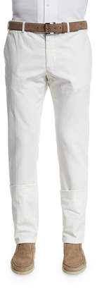 Loro Piana Comfort Slim-Stretch Cotton Trousers, Optical White