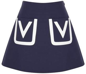 Valentino Navy Wool Mini Skirt