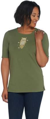 Factory Quacker Elbow-Sleeve Knit T-Shirt w/ Embellished Motifs