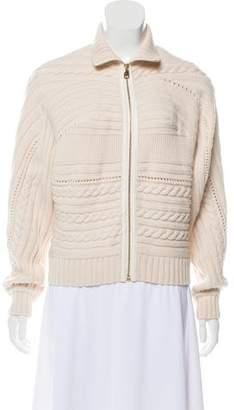 Salvatore Ferragamo Cable Knit Zip-Up Sweater