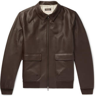 Loro Piana Leather Bomber Jacket - Brown