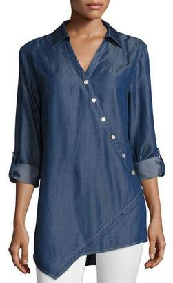 Go Silk Long-Sleeve Denim Asymmetric Button Shirt, Plus Size