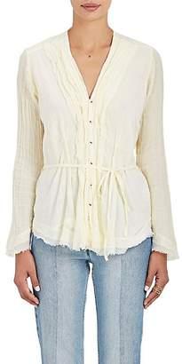 Pas De Calais Women's Ruffle Cotton Gauze Blouse