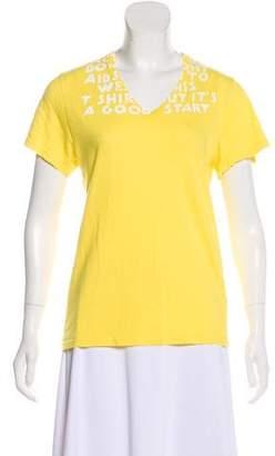 Maison Margiela Short Sleeve V-Neck Top
