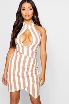 boohoo Petite Striped Cut Out Halter Neck Dress