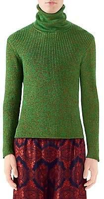 Gucci Men's Lurex Cableknit Turtleneck Sweater