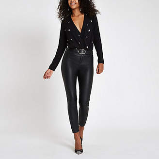 River Island Womens Black pearl embellished wrap front bodysuit