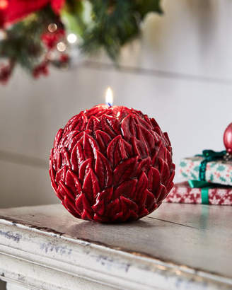 Large Ball Leaves Relief Holiday Candle