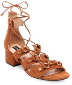 Design Lab Eldy Snakeskin-Embossed Lace-Up Sandals