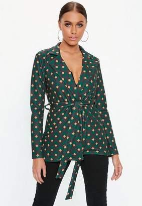 Missguided Green Geo Print Tie Waist Blazer Jacket