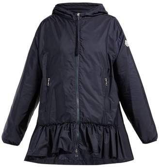 Moncler Tbilissi Ruffle Hem Hooded Jacket - Womens - Navy