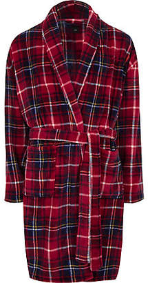River Island Red check 'R96' fleece dressing gown