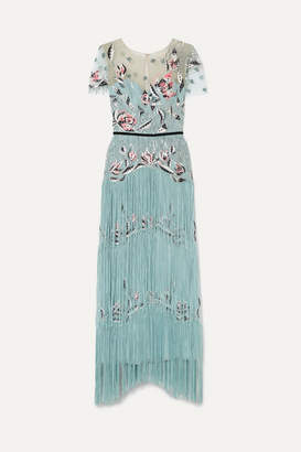 Marchesa Fringed Sequined Embroidered Tulle Gown - Turquoise