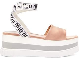 Miu Miu Logo Jacquard Satin Flatform Sandals - Womens - Nude