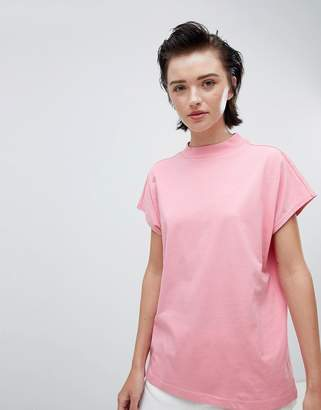 Weekday high neck t-shirt in pink