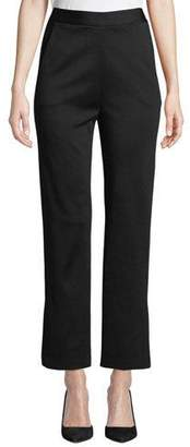 St. John Side-Slit Straight-Leg Cropped Milano Knit Pants