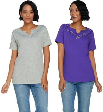Factory Quacker Set of 2 Floral Rhinestone Split V-Neck Knit T-shirts