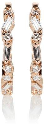 Suzanne Kalan 18kt rose gold diamond hoop earrings