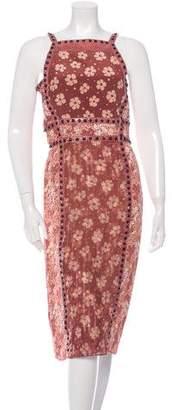 Bottega Veneta Snakeskin-Trimmed Floral Print Dress