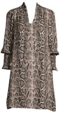 Rebecca Taylor Snake Print Shirt Dress