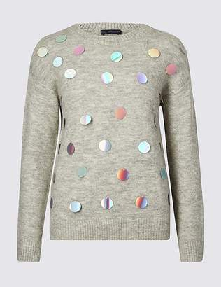 Marks and Spencer Embellished Large Sequin Long Sleeve Jumper