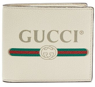 59b07010a9cb Gucci Logo Print Leather Bi Fold Wallet - Mens - White Multi