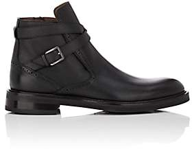 Salvatore Ferragamo Men's Becker Textured Leather Jodhpur Boots - Black