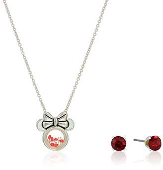 Disney Women's Plated Crystal Minnie Earring & Pendant Necklace Jewelry Set