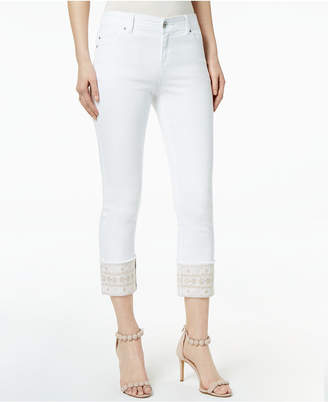INC International Concepts I.n.c. Embroidered Cuffed Jeans, Created for Macy's