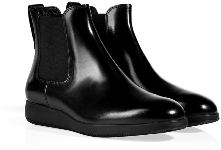 Hogan Leather Chelsea Boots in Black