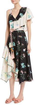 Peter Pilotto V-Neck Sleeveless Floral-Print Asymmetric Cotton Dress