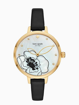 Kate Spade Metro deco floral black leather watch