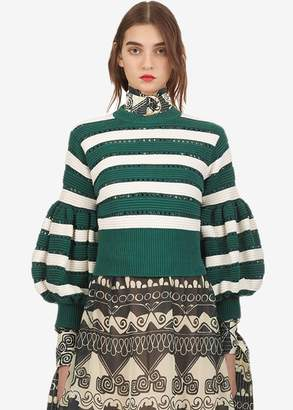 Stella Jean Self Portrait striped cropped sleeve knit sweater in green cream (M)