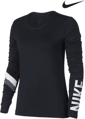 Next Womens Nike Black Long Sleeve Stripe Top