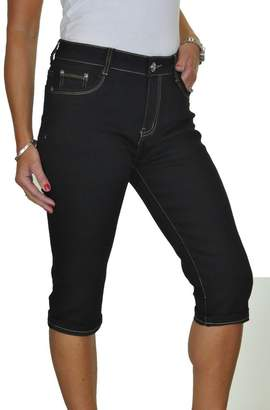 Ice Stretch Denim Capri Turn Up Cuff Cropped Jeans Black 8-18