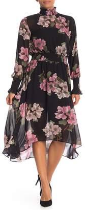 Nanette Lepore NANETTE Floral Smocked High/Low Chiffon Dress