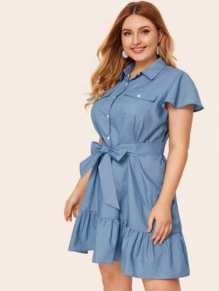 Shein Plus Button Pocket Belted Ruffle Hem Denim Dress
