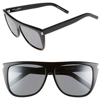 Women's Saint Laurent Sl1 59Mm Flat Top Sunglasses - Black/ Silver $350 thestylecure.com