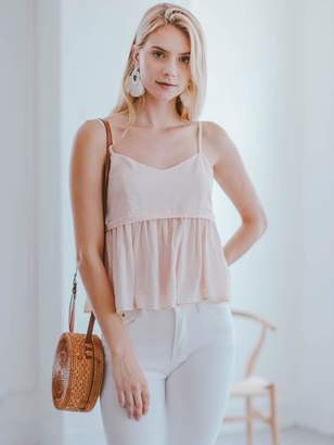 Goodnight Macaroon 'Amiyah' Pink Pleated Peplum Camisole Top